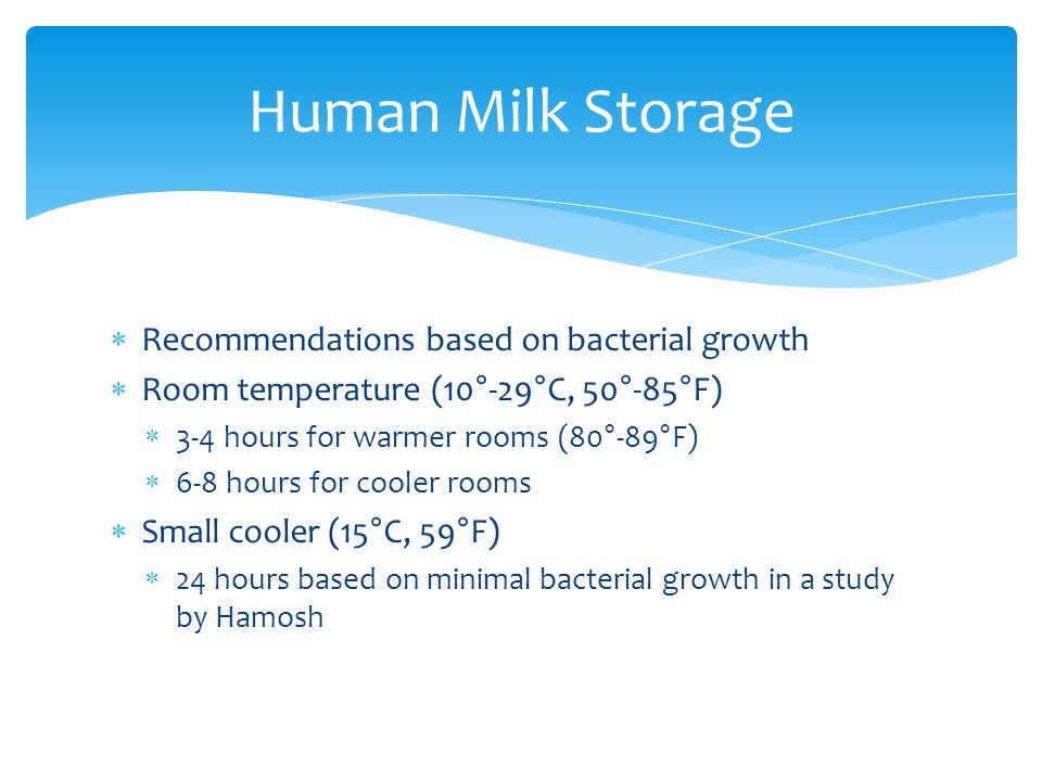 Human Milk Storage Recommendations based on bacterial growth
