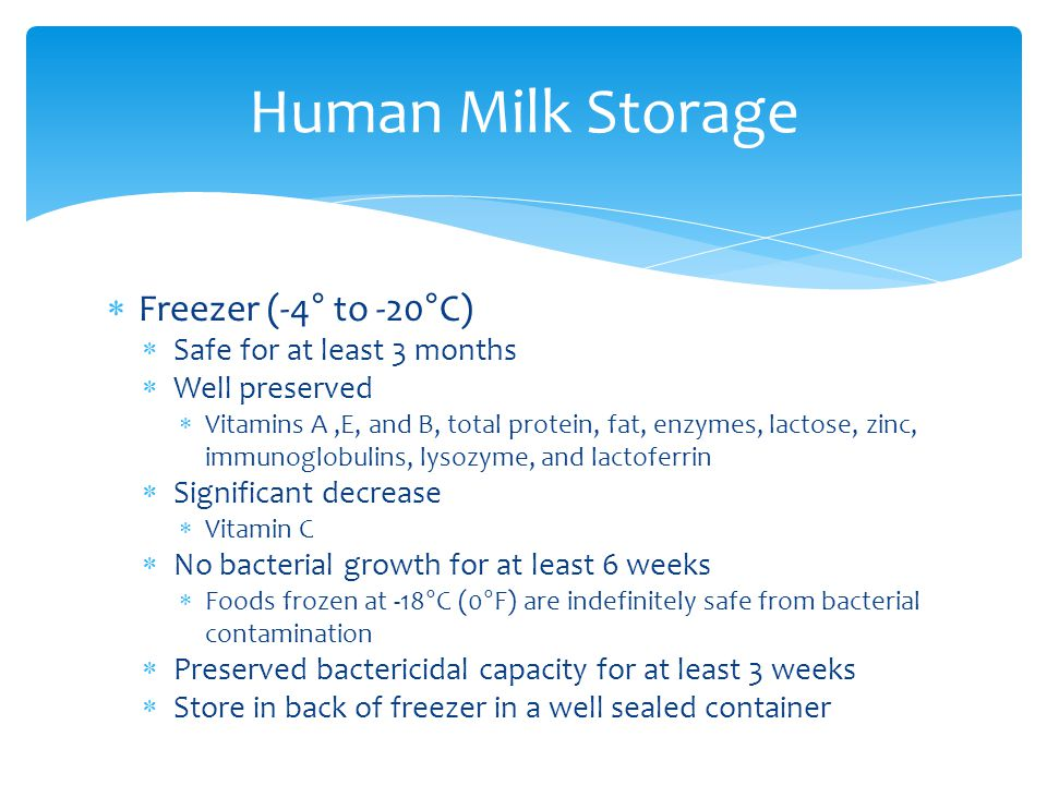 Human Milk Storage Freezer (-4° to -20°C) Safe for at least 3 months