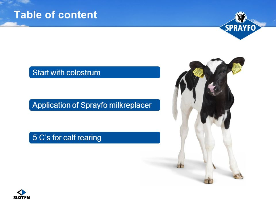 Table of content Start with colostrum
