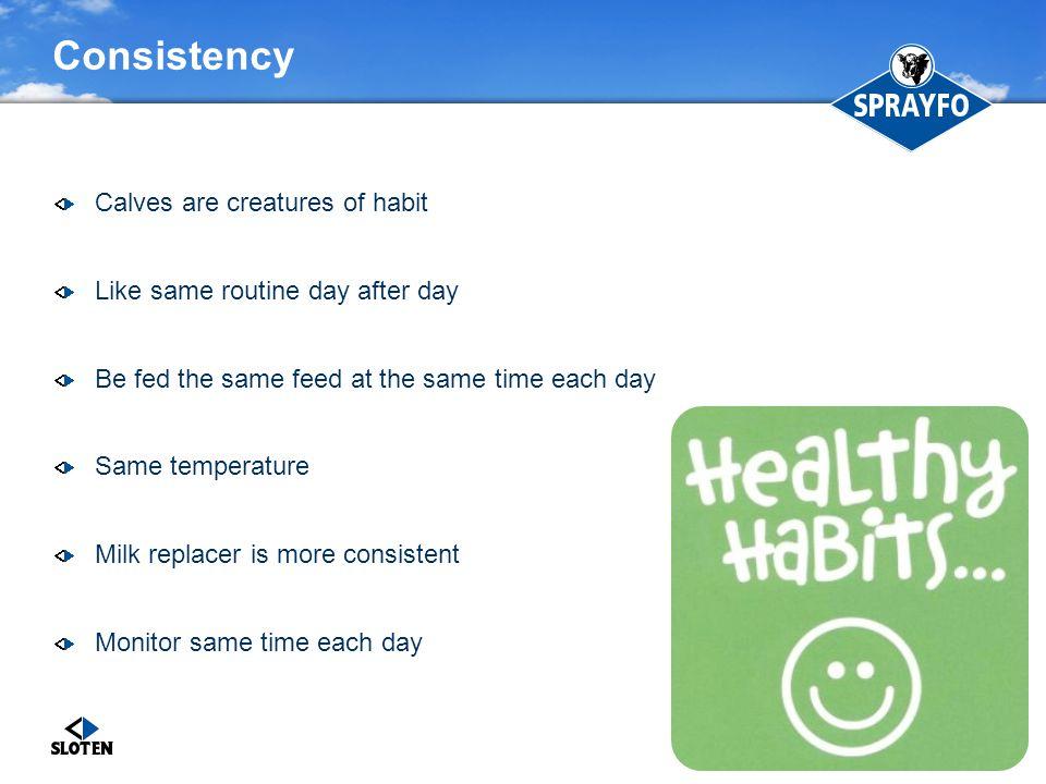 Consistency Calves are creatures of habit
