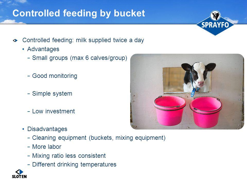 Controlled feeding by bucket