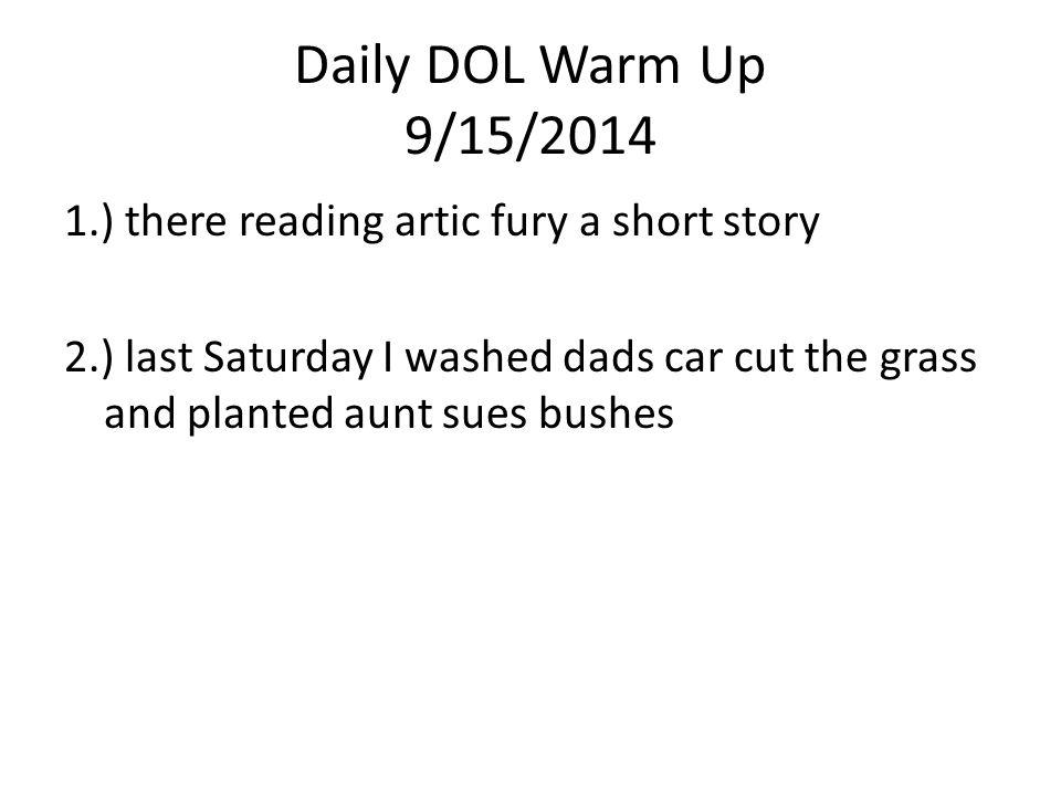 Daily DOL Warm Up 9/15/2014