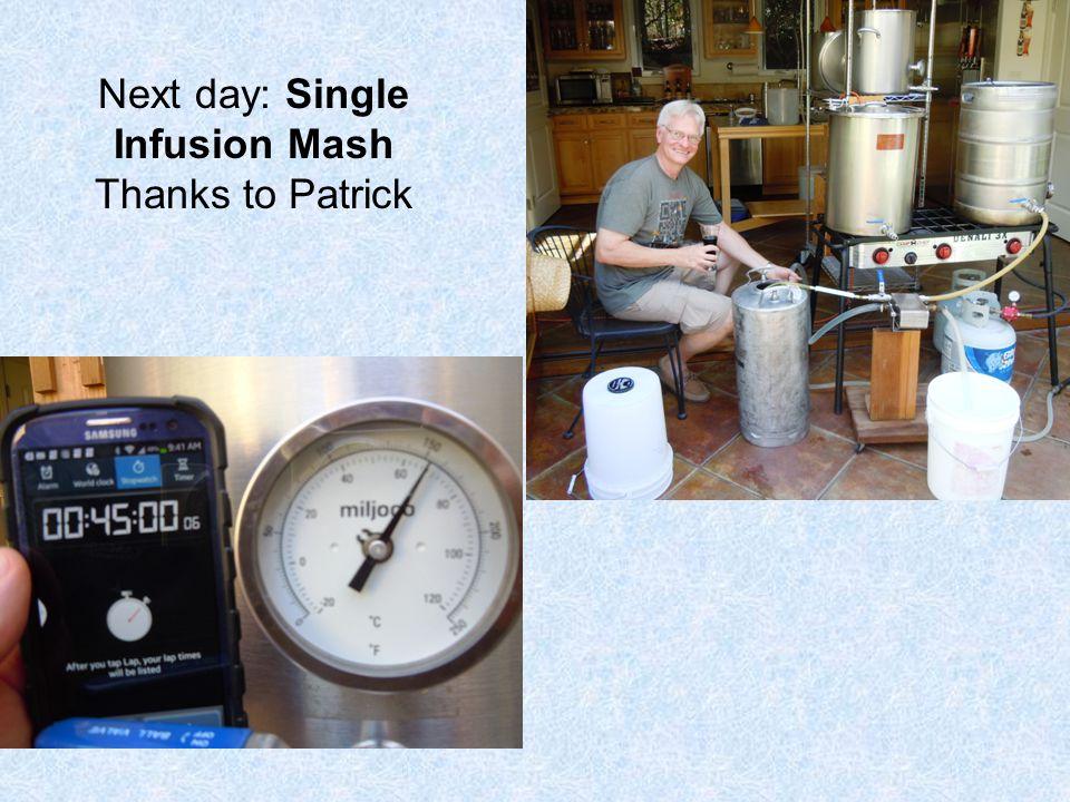 Next day: Single Infusion Mash