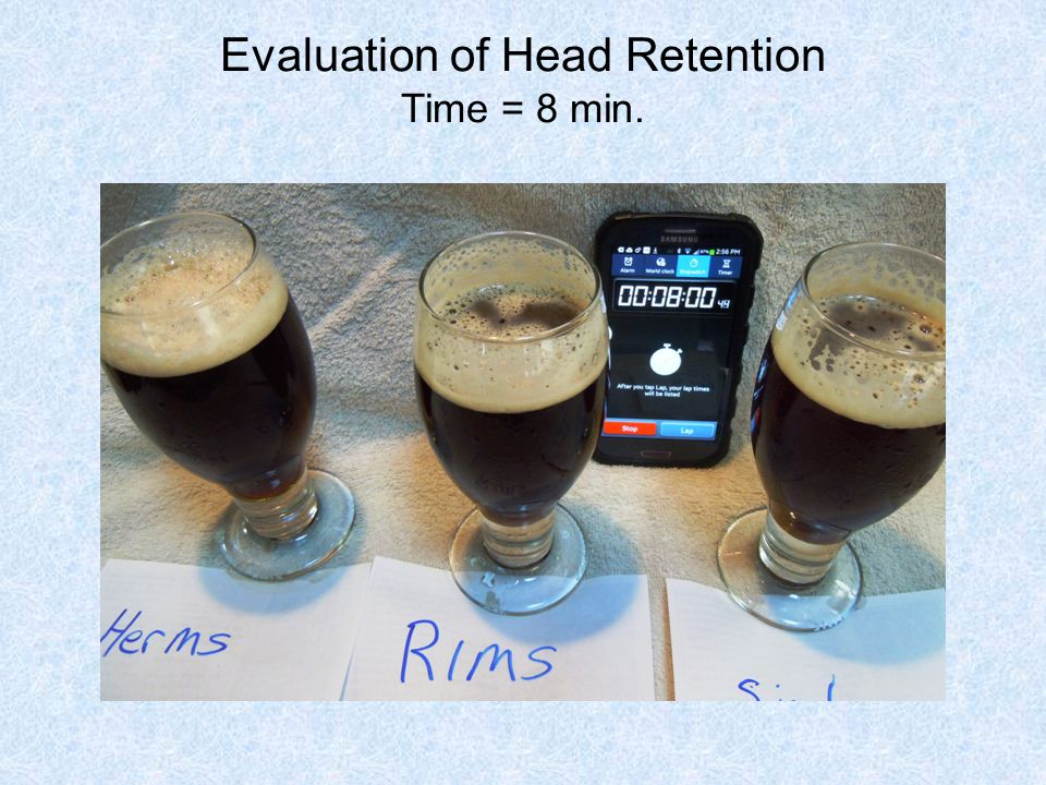 Evaluation of Head Retention Time = 8 min.