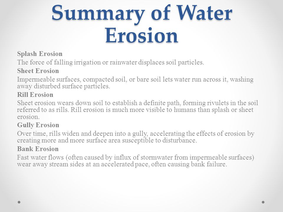 Summary of Water Erosion