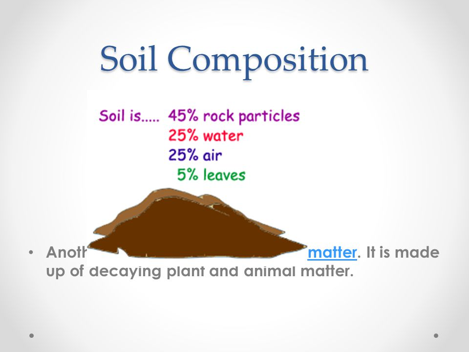 Soil Composition Another material is called organic matter.