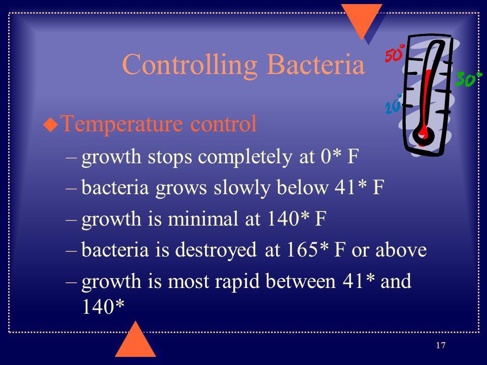 Controlling Bacteria Temperature control
