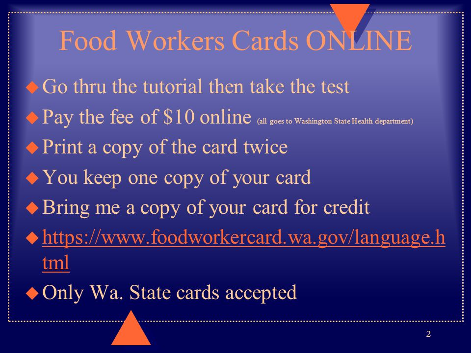 Food Workers Cards ONLINE