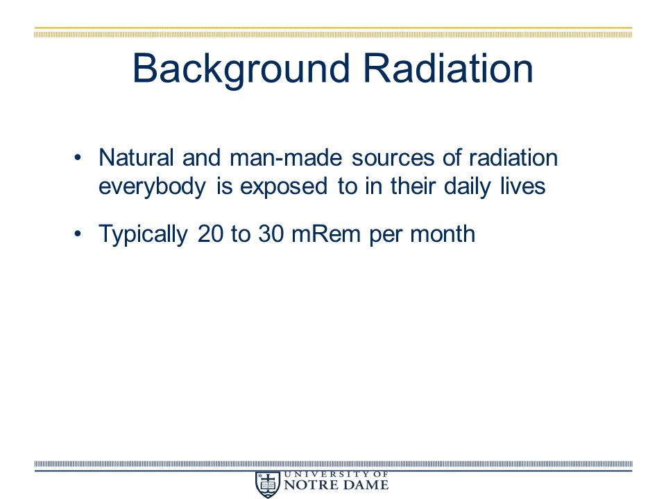 Background Radiation Natural and man-made sources of radiation everybody is exposed to in their daily lives.