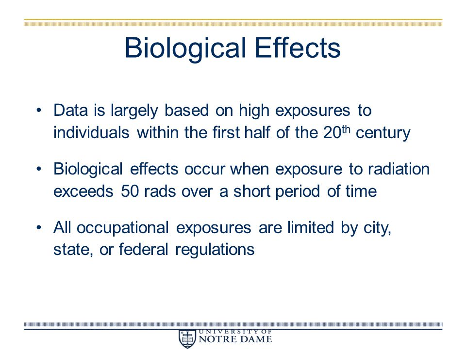 Biological Effects Data is largely based on high exposures to individuals within the first half of the 20th century.