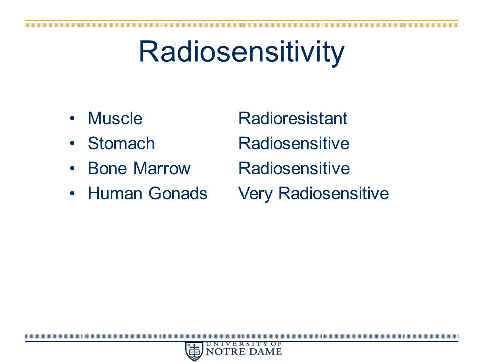 Radiosensitivity Muscle Radioresistant Stomach Radiosensitive
