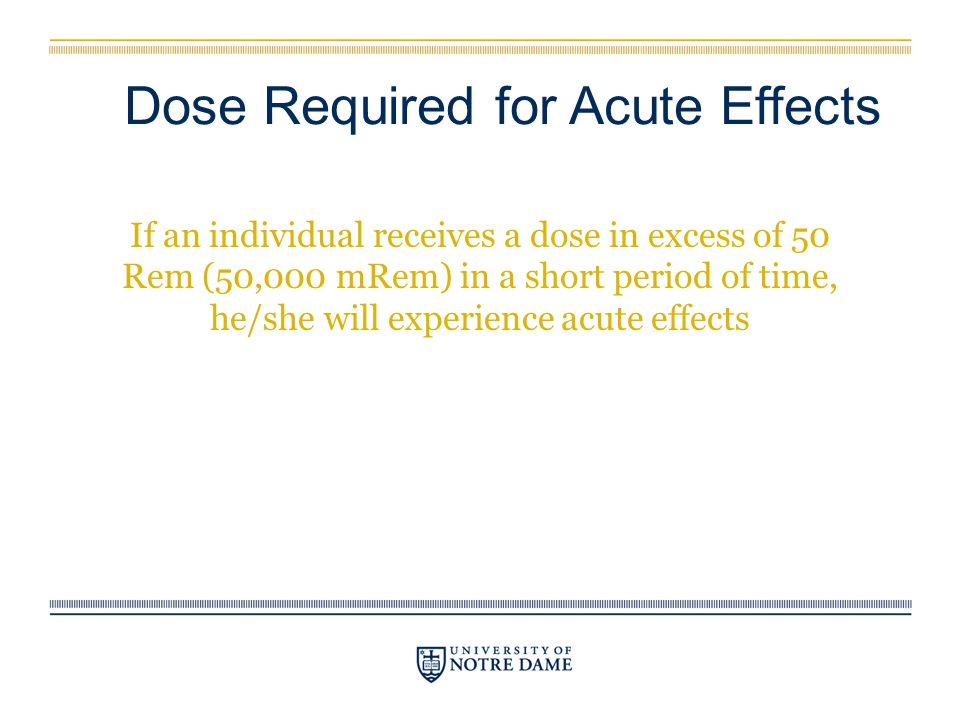 Dose Required for Acute Effects