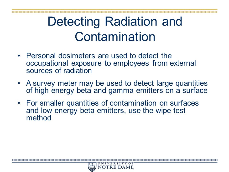 Detecting Radiation and Contamination