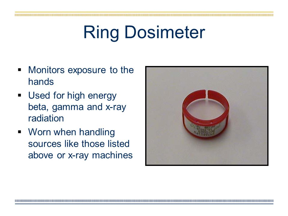 Ring Dosimeter Monitors exposure to the hands