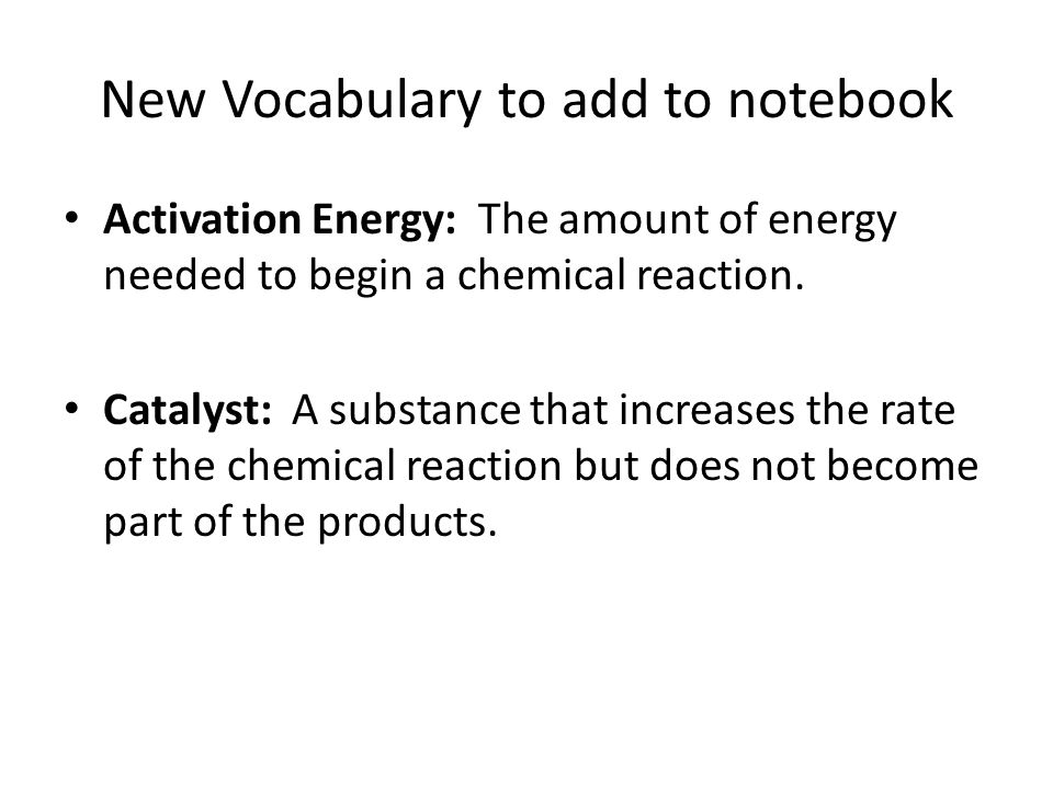 New Vocabulary to add to notebook