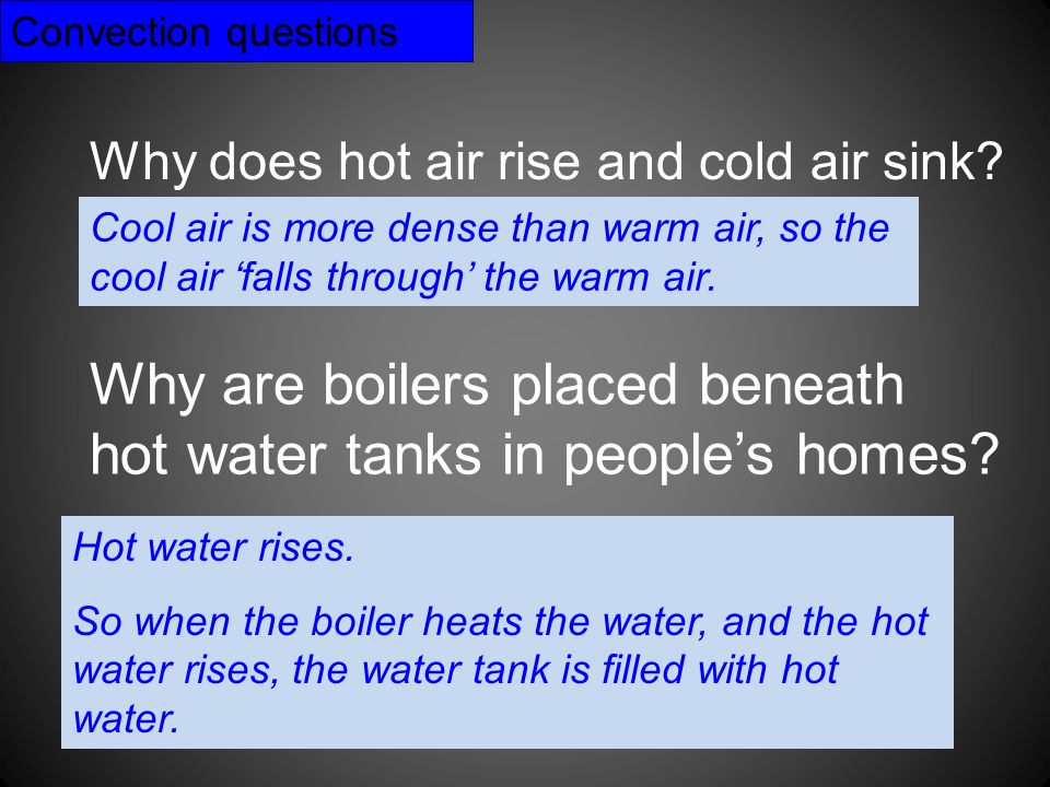 Why are boilers placed beneath hot water tanks in people's homes