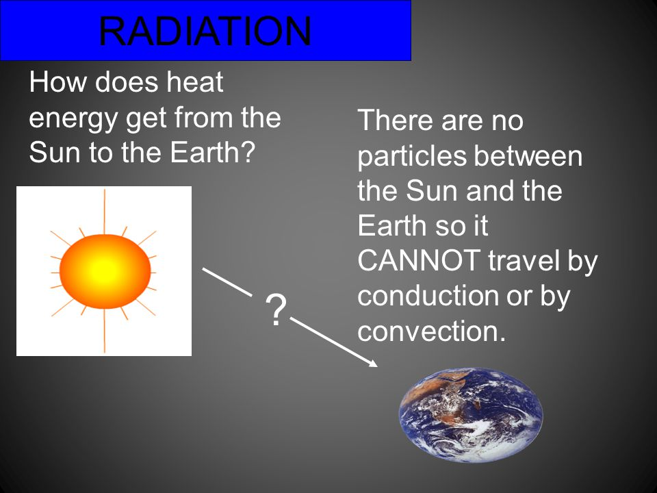 RADIATION How does heat energy get from the Sun to the Earth