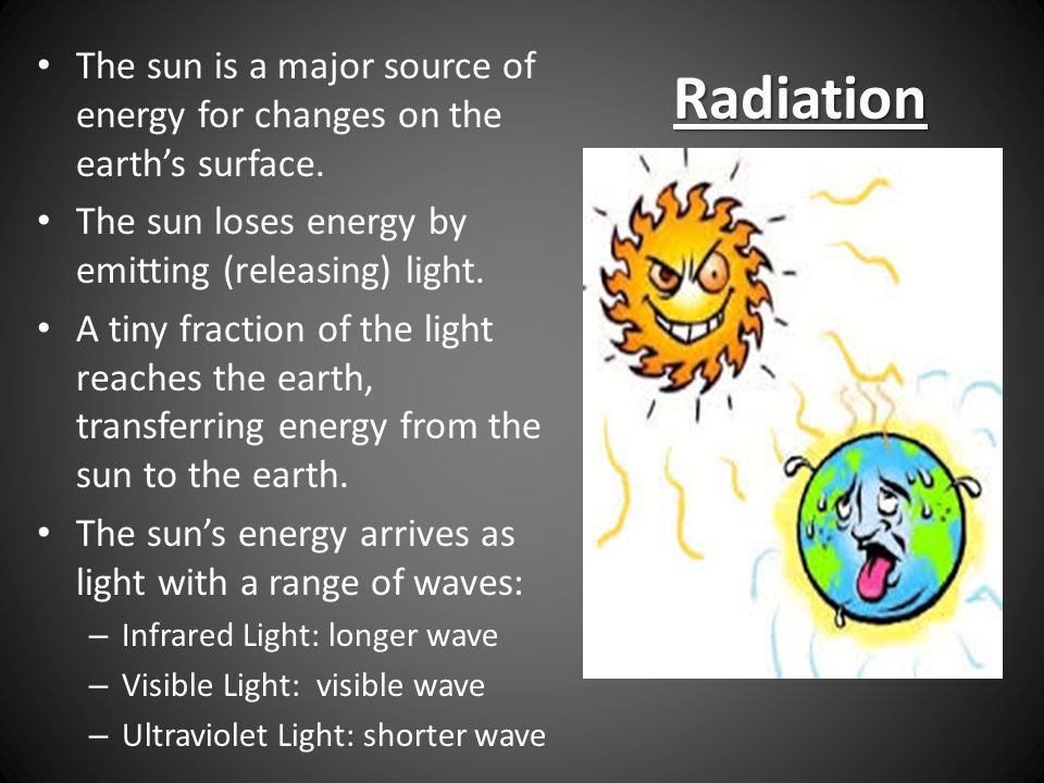 The sun is a major source of energy for changes on the earth's surface.