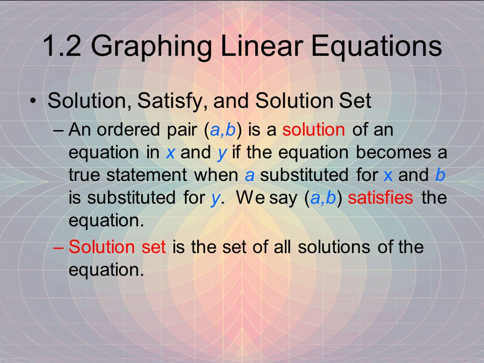 1.2 Graphing Linear Equations