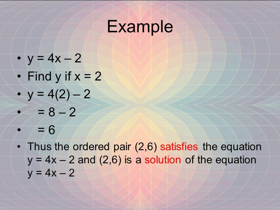 Example y = 4x – 2 Find y if x = 2 y = 4(2) – 2 = 8 – 2 = 6