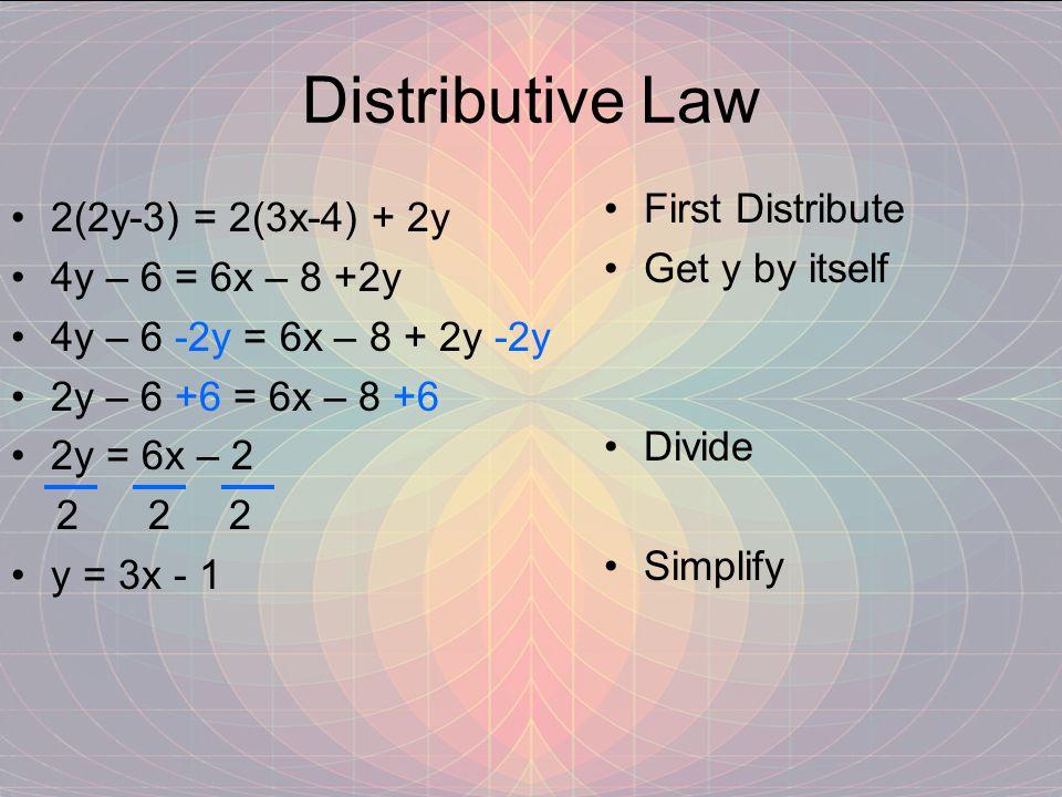 Distributive Law First Distribute 2(2y-3) = 2(3x-4) + 2y