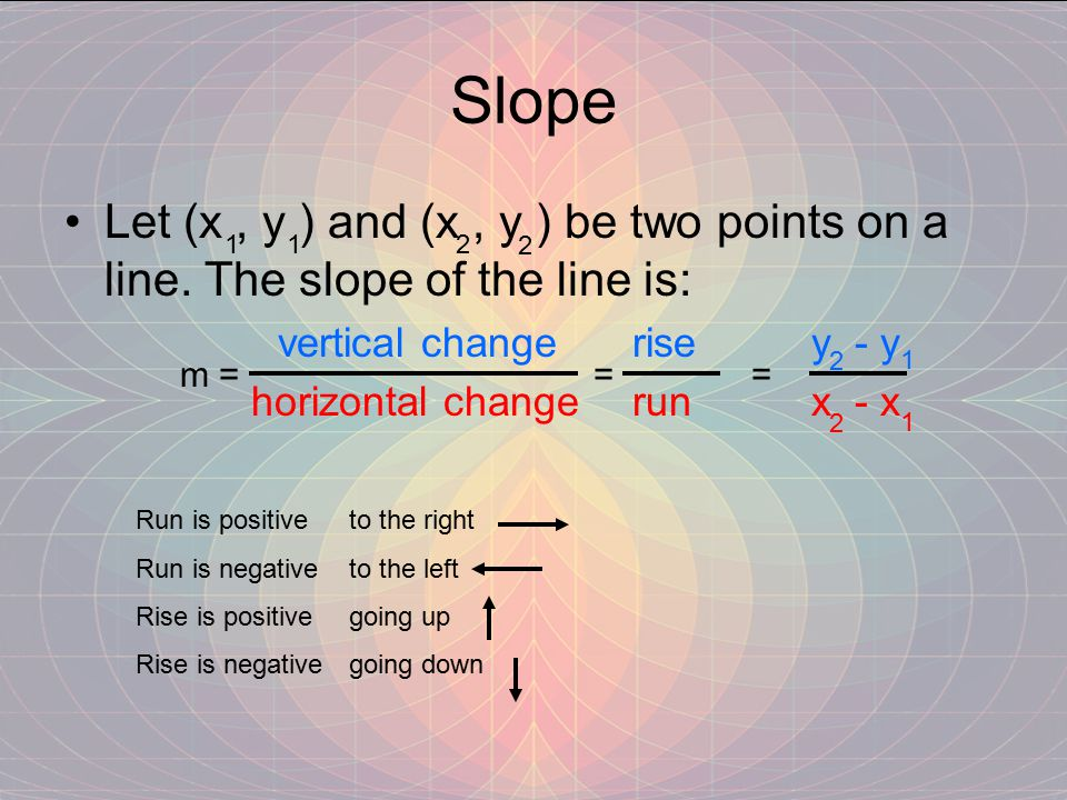 Slope Let (x , y ) and (x , y ) be two points on a line. The slope of the line is: vertical change rise y - y.