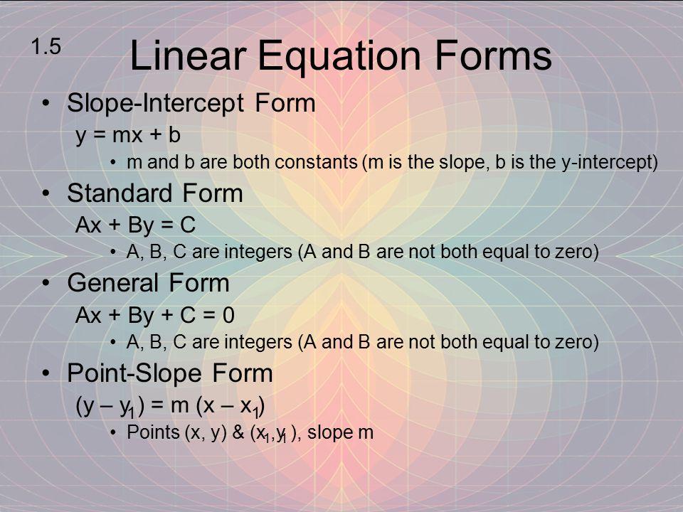 Linear Equation Forms Slope-Intercept Form Standard Form General Form