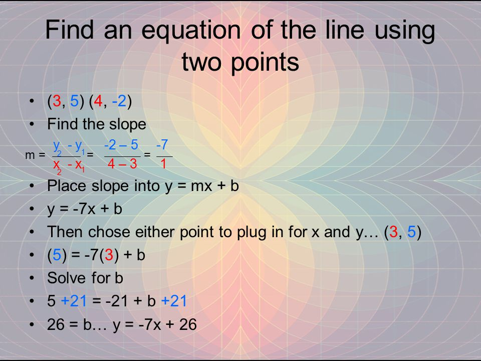 Find an equation of the line using two points