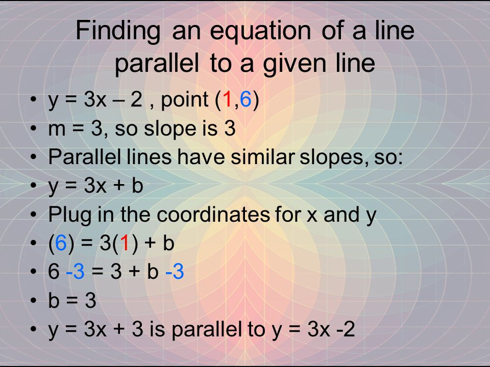 Finding an equation of a line parallel to a given line