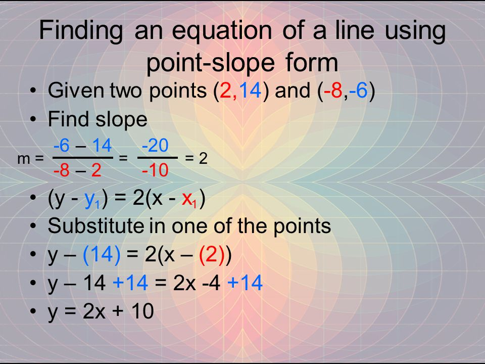 Finding an equation of a line using point-slope form