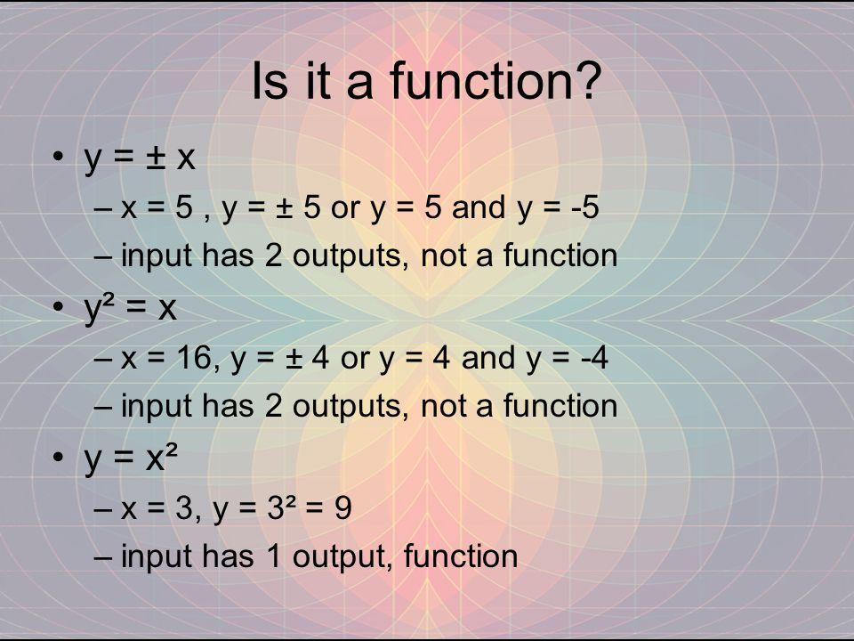 Is it a function y = ± x y² = x y = x²