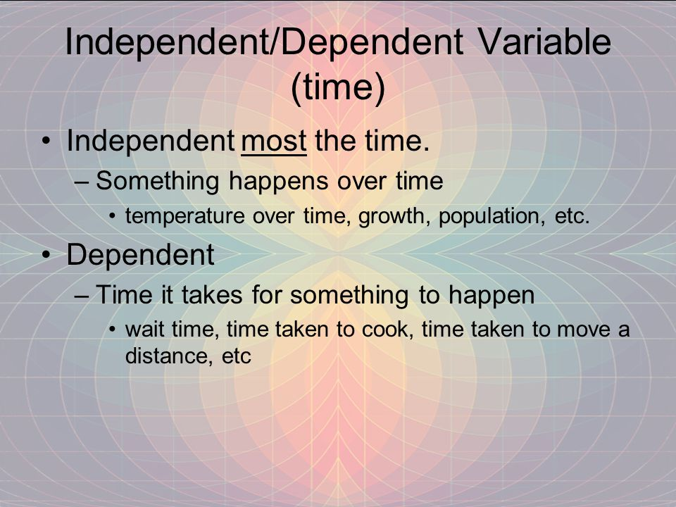 Independent/Dependent Variable (time)