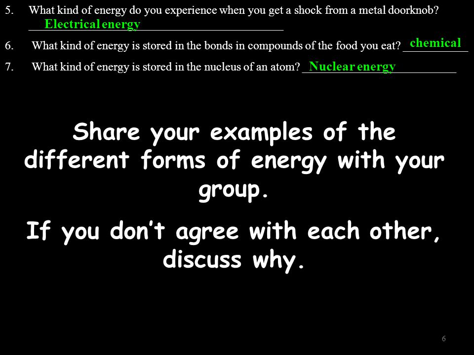 Share your examples of the different forms of energy with your group.