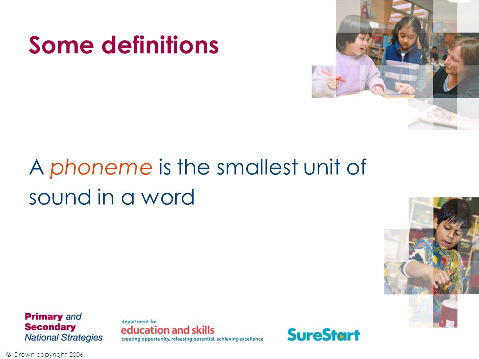 Some definitions A phoneme is the smallest unit of sound in a word