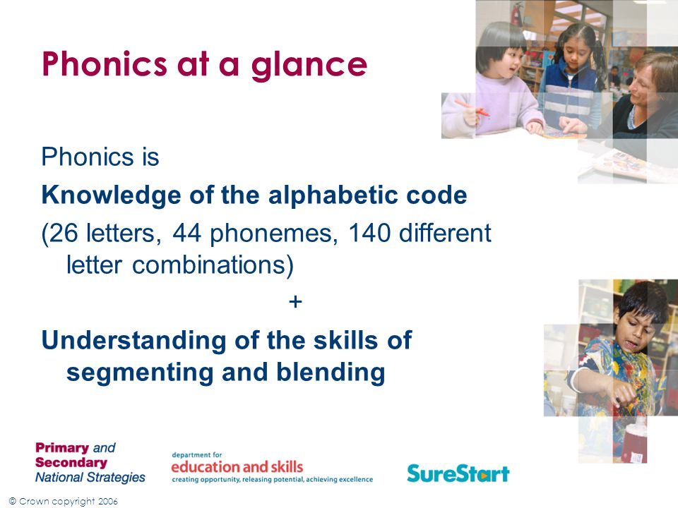Phonics at a glance Phonics is Knowledge of the alphabetic code