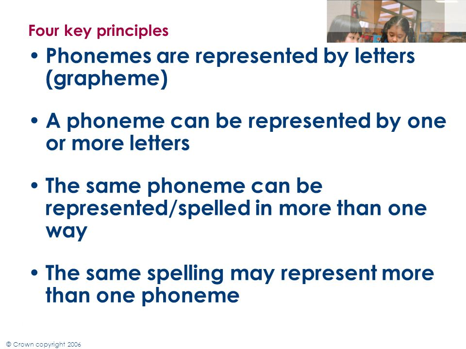 Phonemes are represented by letters (grapheme)