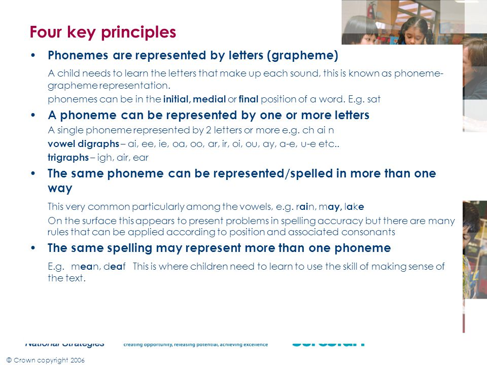 Four key principles Phonemes are represented by letters (grapheme)