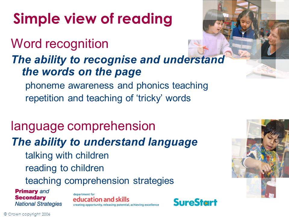 Simple view of reading Word recognition language comprehension