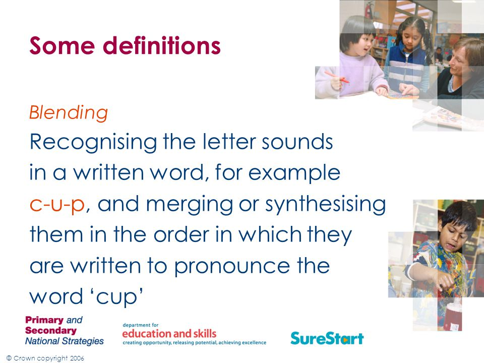Some definitions Recognising the letter sounds