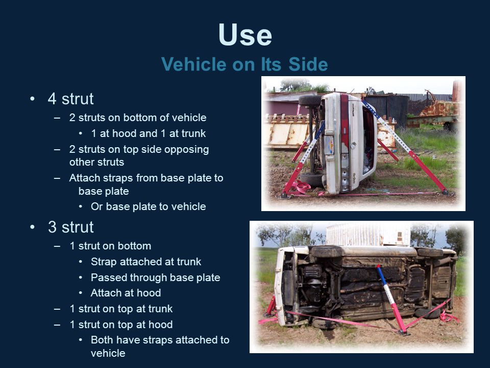 Use Vehicle on Its Side 4 strut 3 strut 2 struts on bottom of vehicle