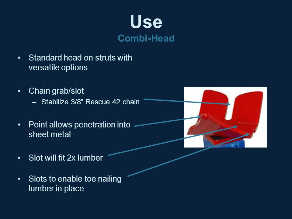 Use Combi-Head Standard head on struts with versatile options
