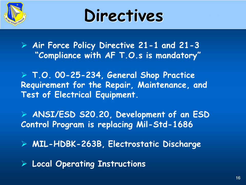 Directives Air Force Policy Directive 21-1 and 21-3