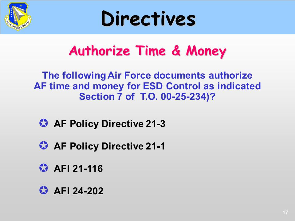 Directives Authorize Time & Money