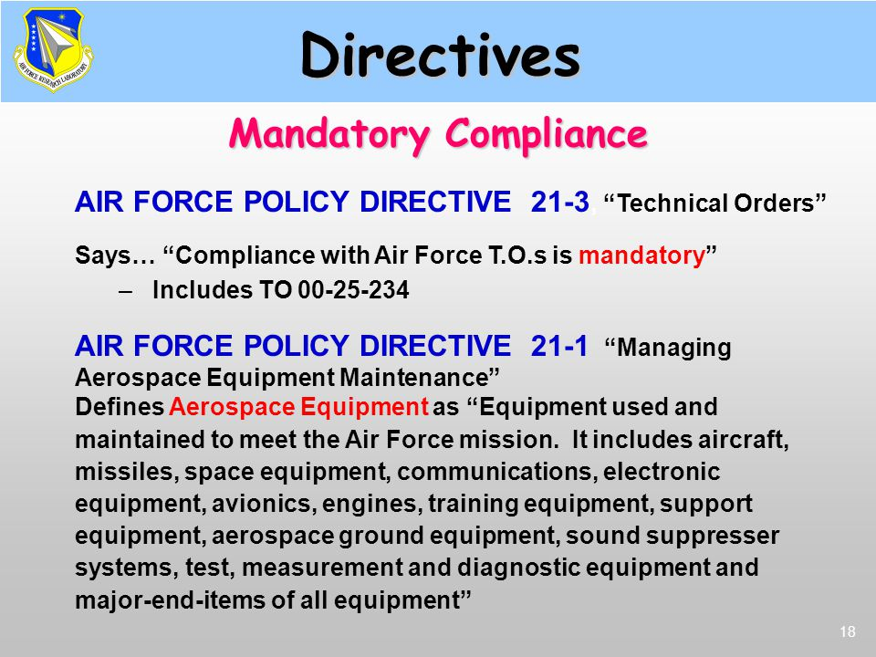 Directives Mandatory Compliance
