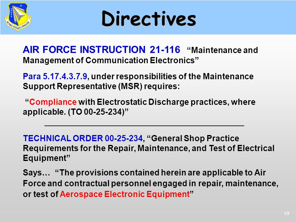 Directives AFI 21-116. AIR FORCE INSTRUCTION 21-116 Maintenance and Management of Communication Electronics