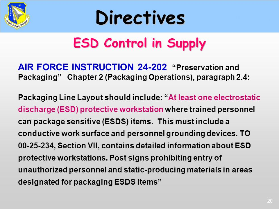 Directives ESD Control in Supply