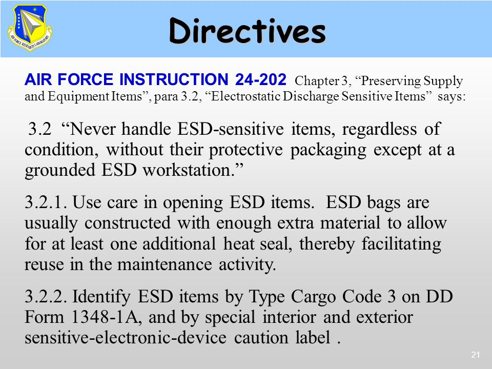 Directives Supply & AFI 24-202.