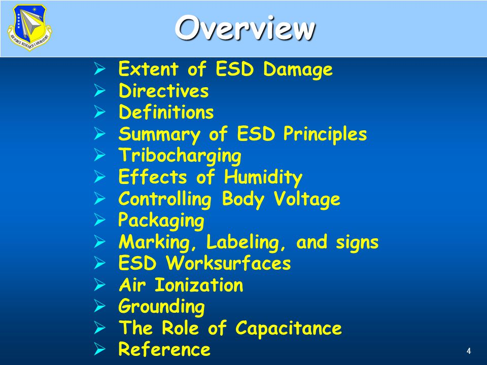 Overview Extent of ESD Damage Directives Definitions