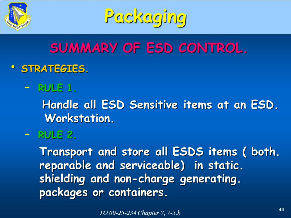Packaging SUMMARY OF ESD CONTROL. Workstation.