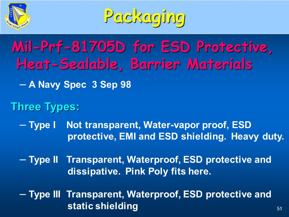 Packaging Types 1, 2, & 3. Mil-Prf-81705D for ESD Protective, Heat-Sealable, Barrier Materials. A Navy Spec 3 Sep 98.